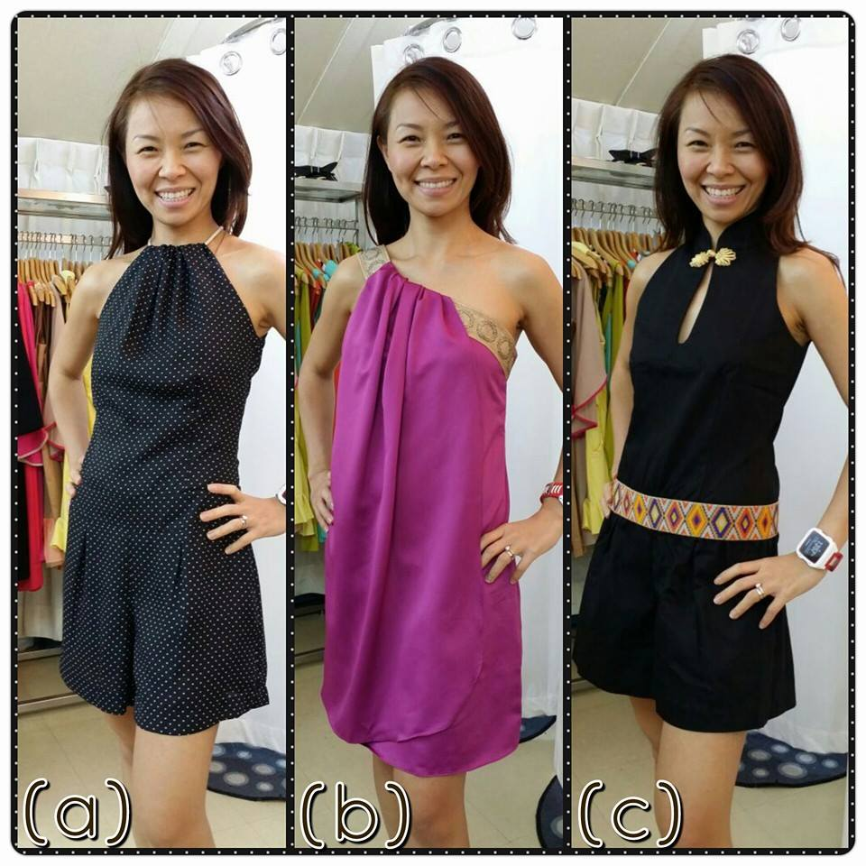 same girl in 3 different dresses