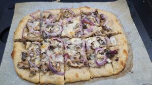 rectangle sourdough pizza cut in pieces